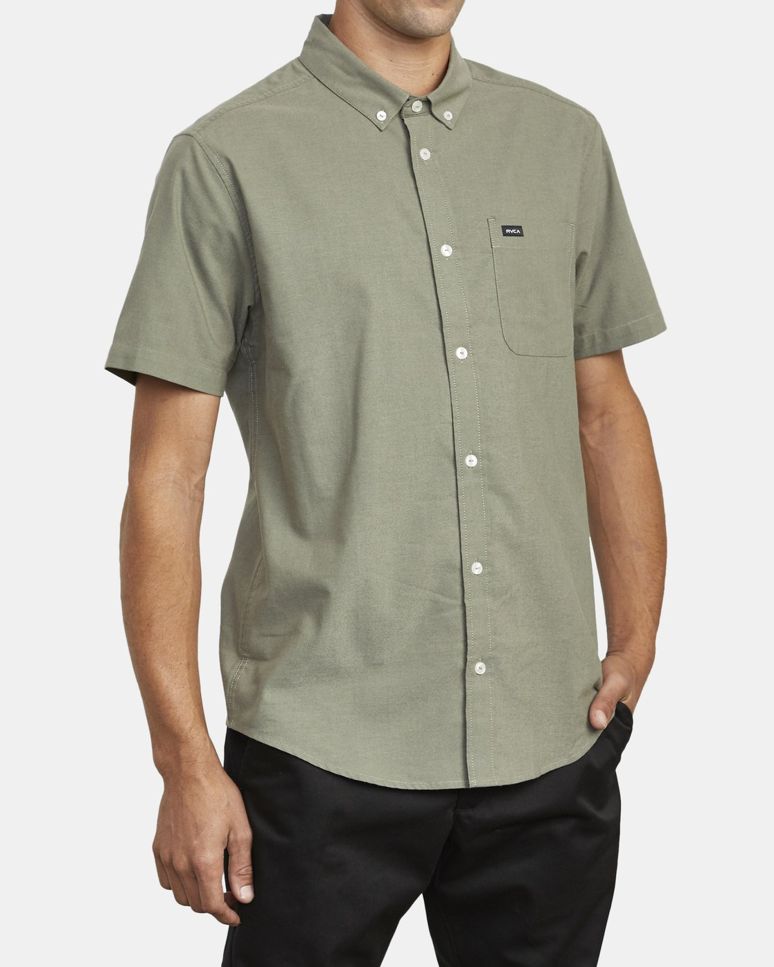 3 THATLL DO STRETCH SHORT SLEEVE SHIRT Green M501VRTD RVCA