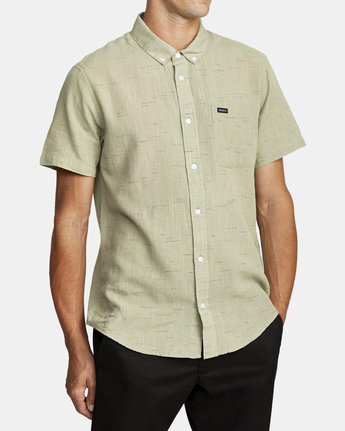 3 That'll Do Textured Button-Up Shirt Green M501VRTT RVCA