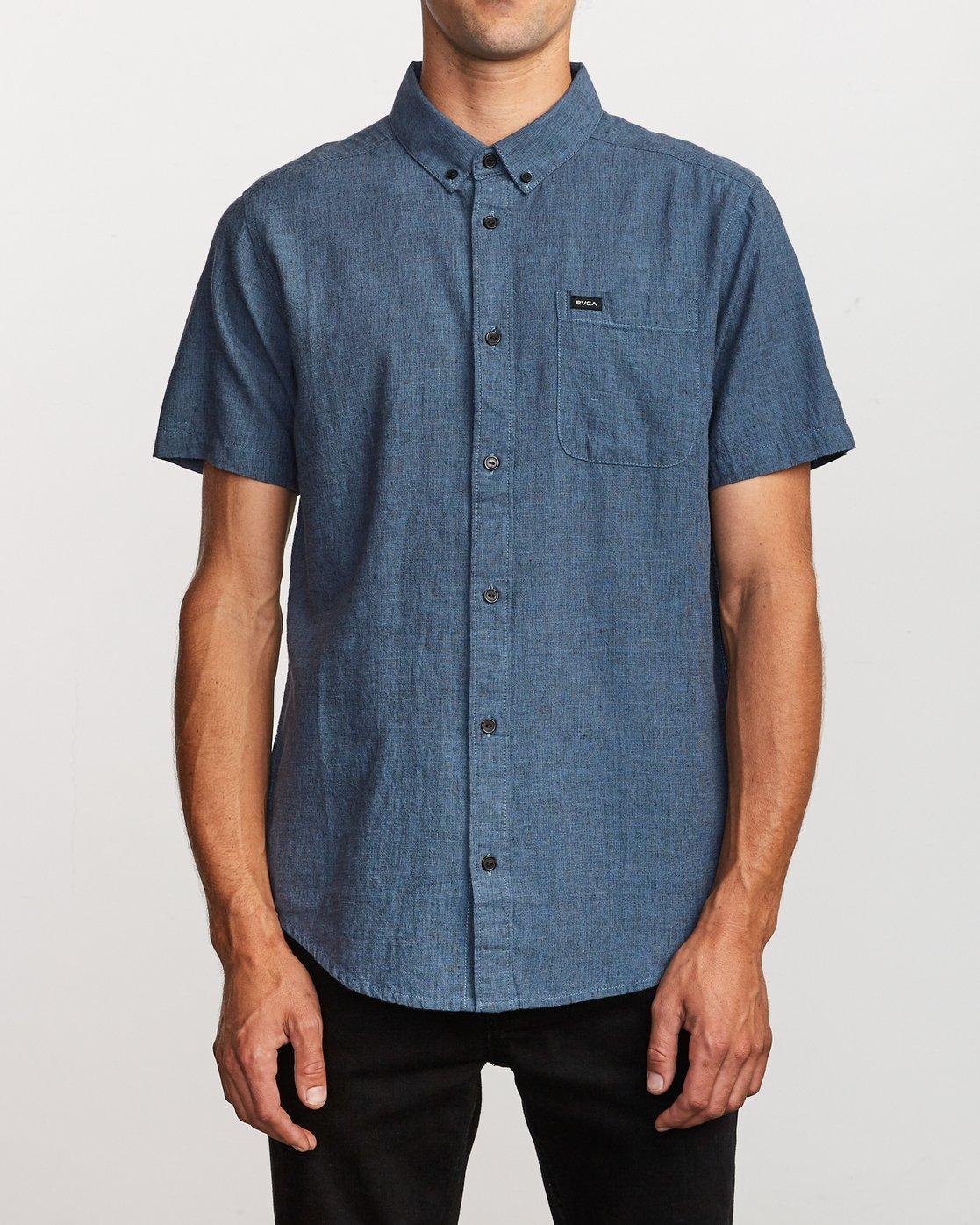 1 That'll Do Textured Button-Up Shirt Blue M501VRTT RVCA
