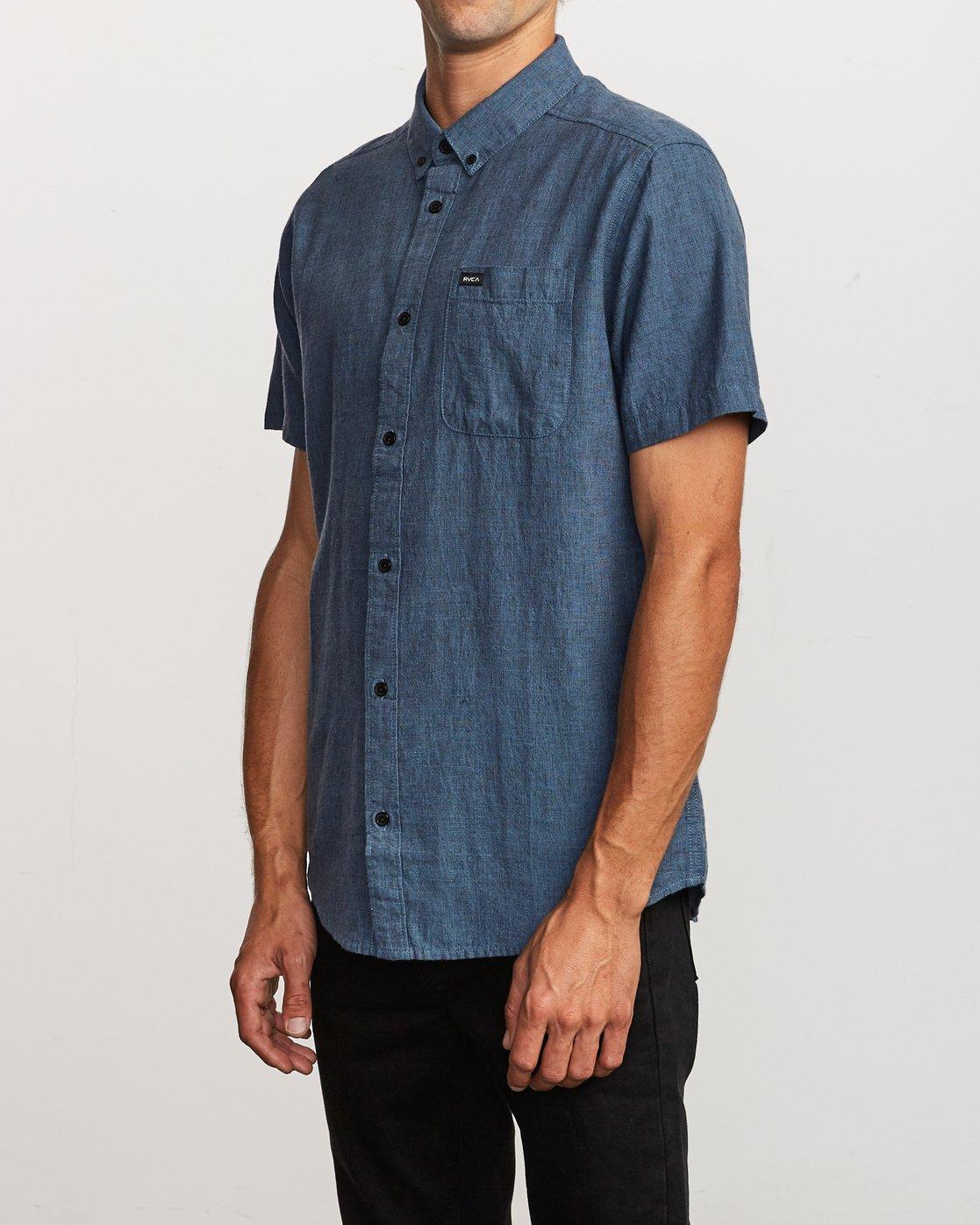 2 That'll Do Textured Button-Up Shirt Blue M501VRTT RVCA