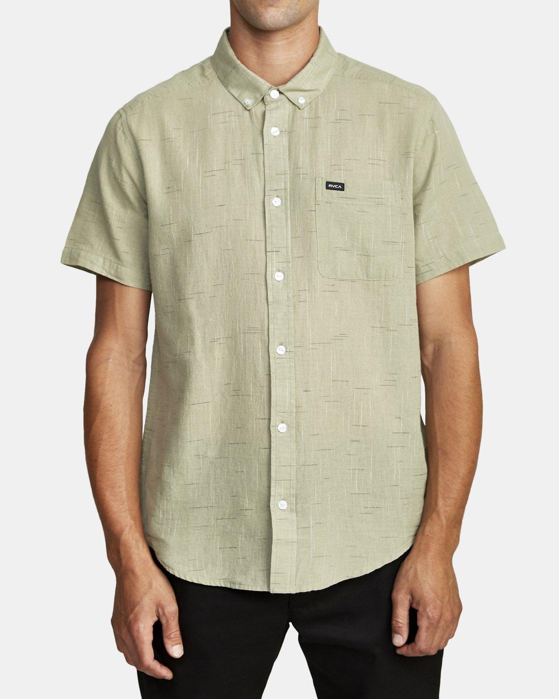 4 That'll Do Textured Button-Up Shirt Green M501VRTT RVCA