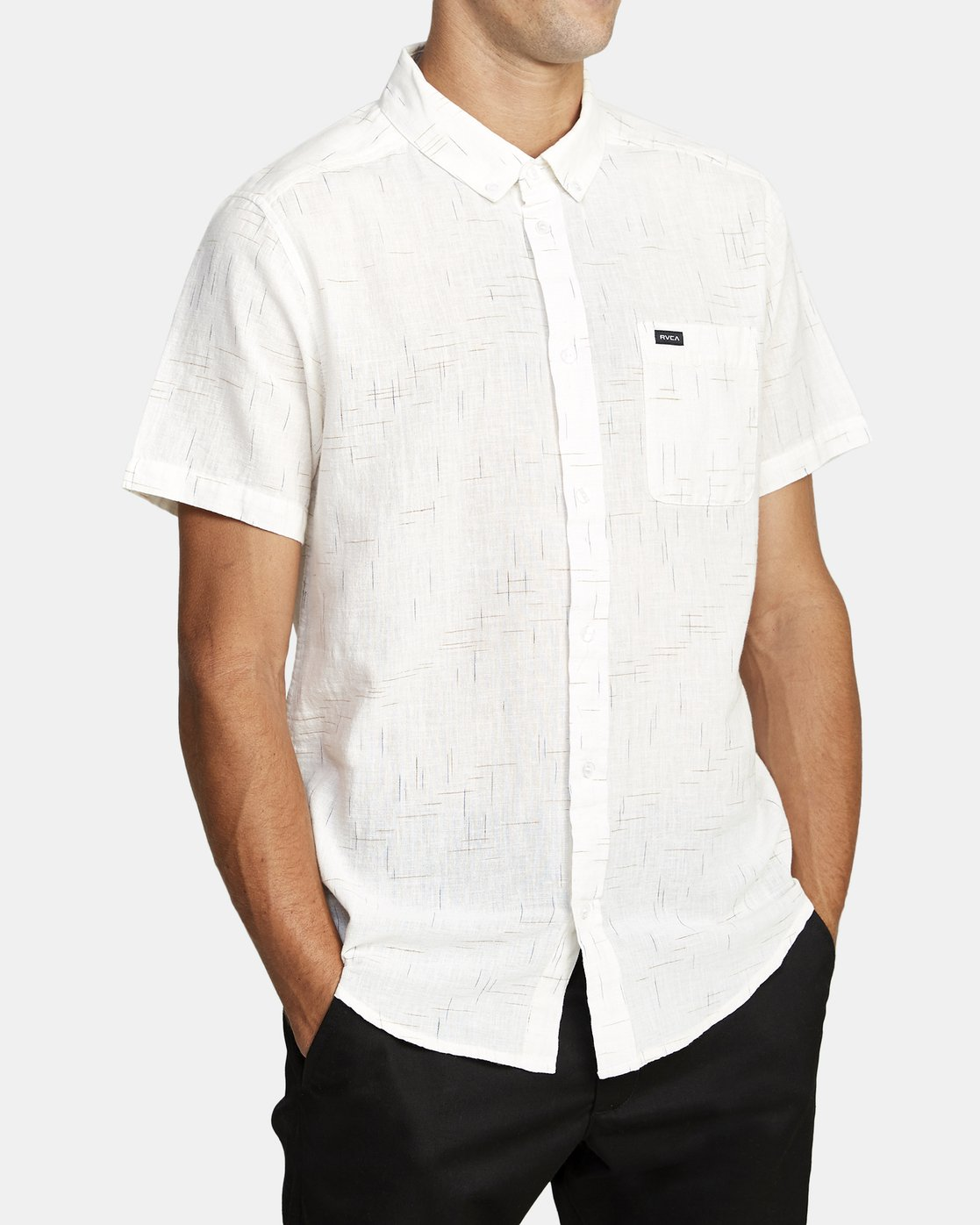 5 That'll Do Textured Button-Up Shirt White M501VRTT RVCA