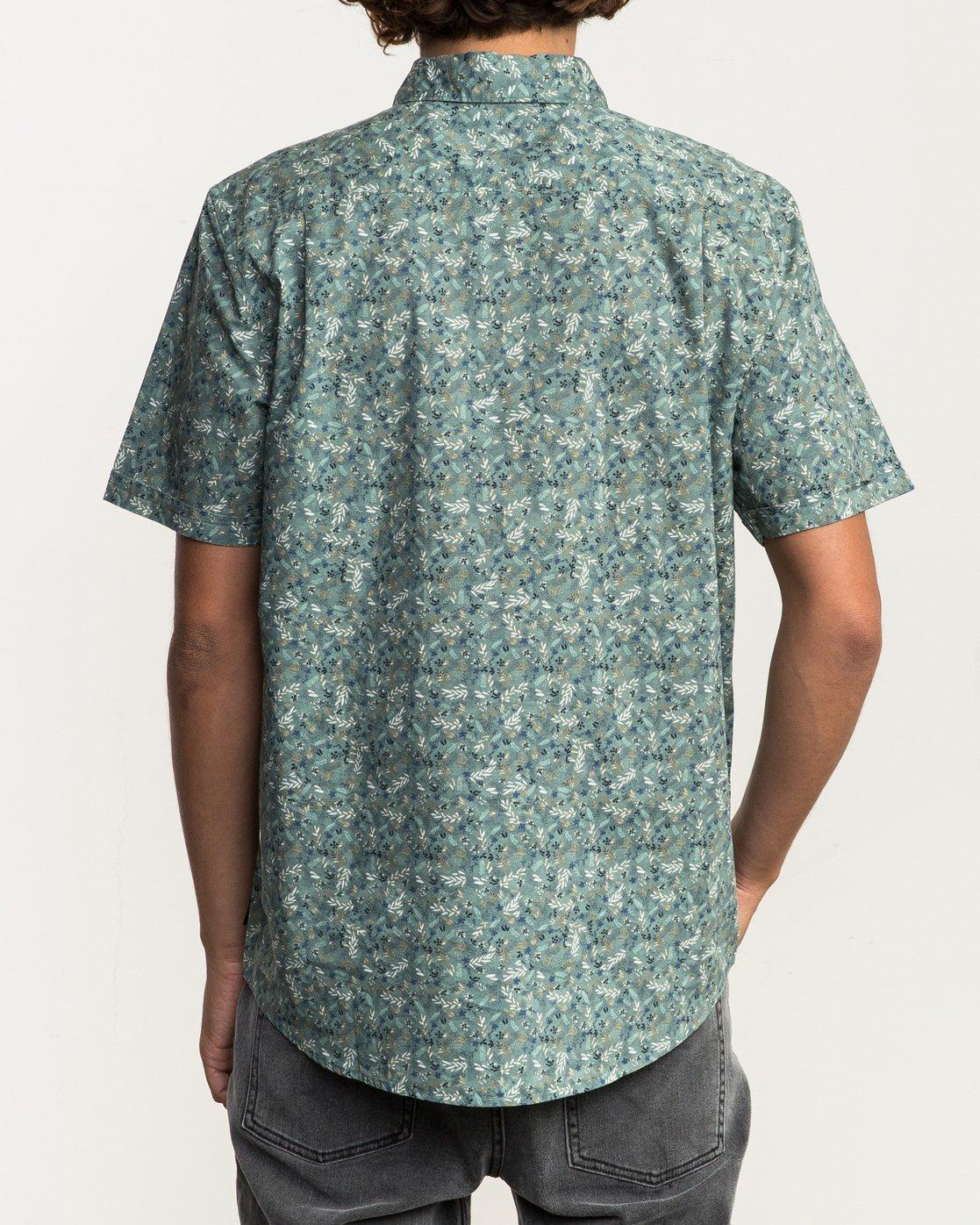 3 Makoto Printed Button-Up Shirt Green M502SRMA RVCA