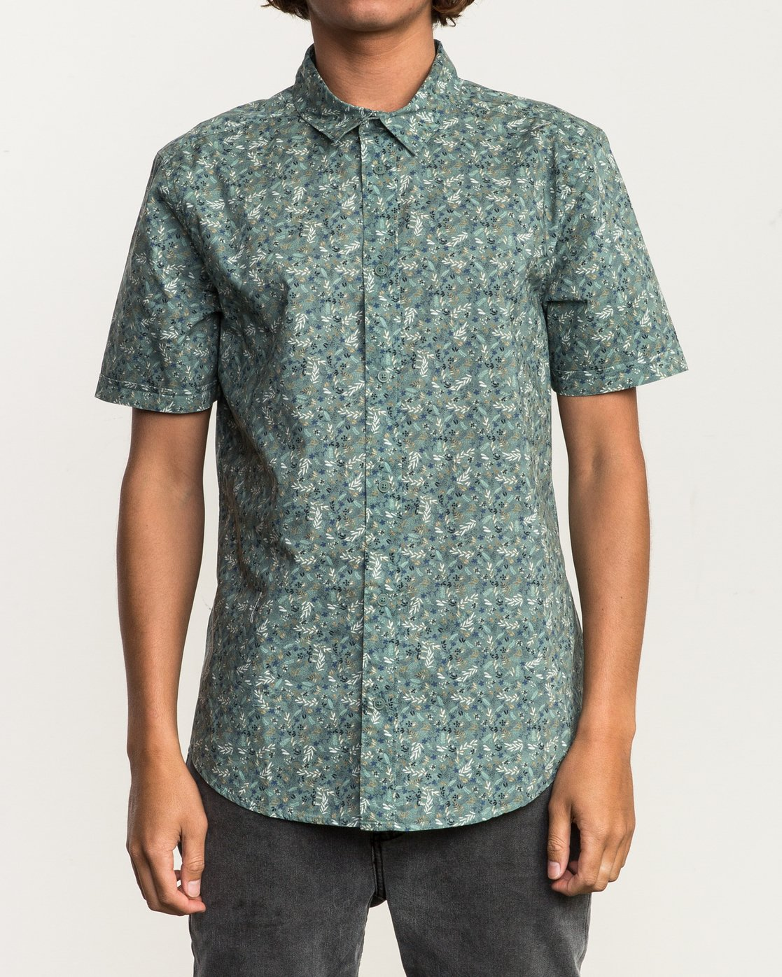 1 Makoto Printed Button-Up Shirt Green M502SRMA RVCA