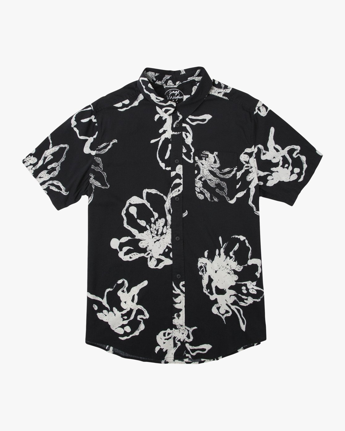 0 Sage Vaughn Linear Button-Up Shirt Black M502TRVL RVCA