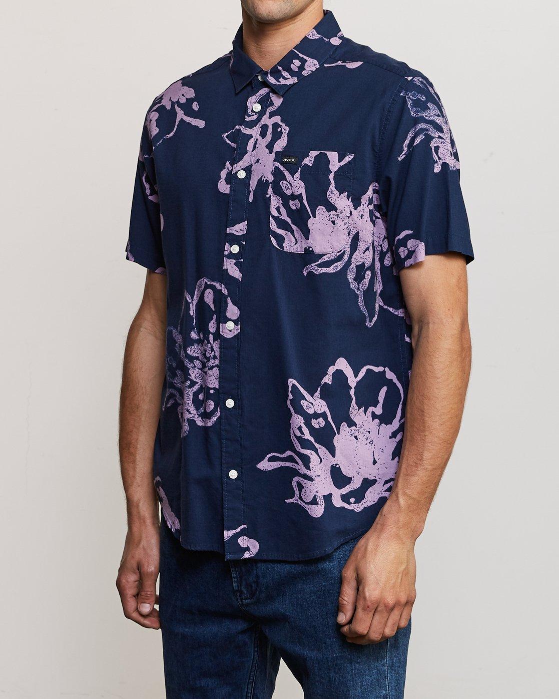 3 Vaughn Linear Button-Up Shirt Blue M502TRVL RVCA