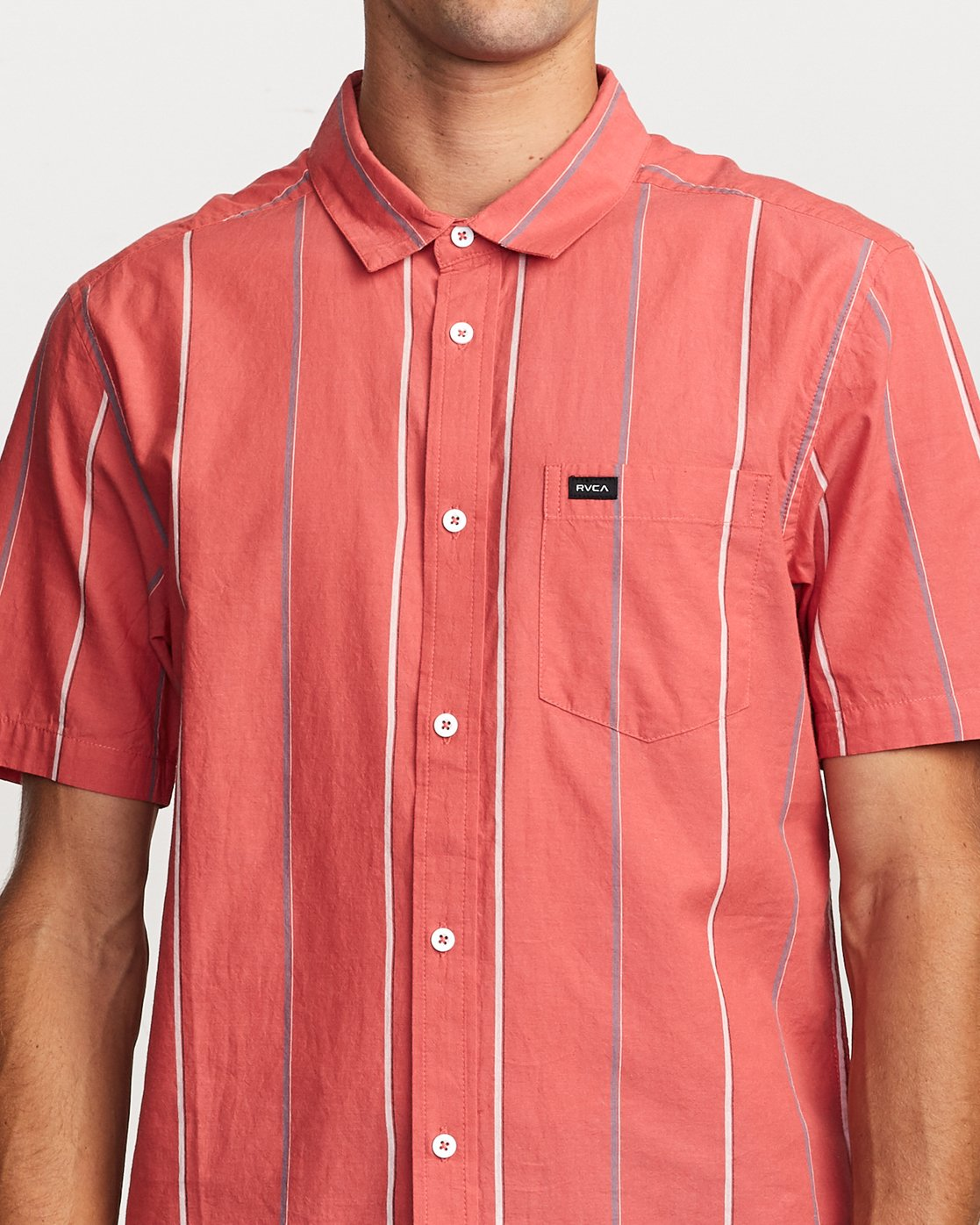4 Hacienda Stripe Button-Up Shirt Pink M502VRHS RVCA