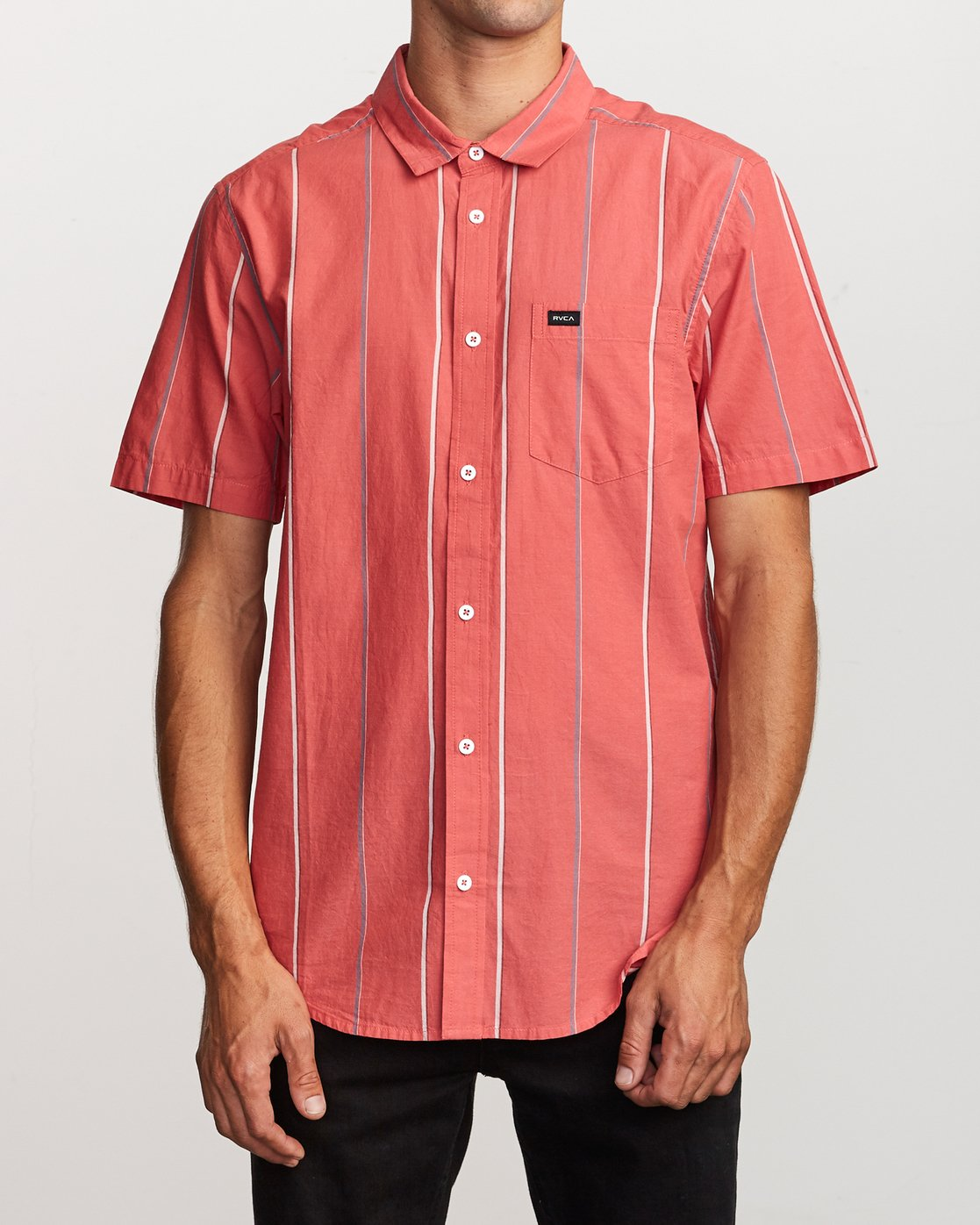 1 Hacienda Stripe Button-Up Shirt Pink M502VRHS RVCA