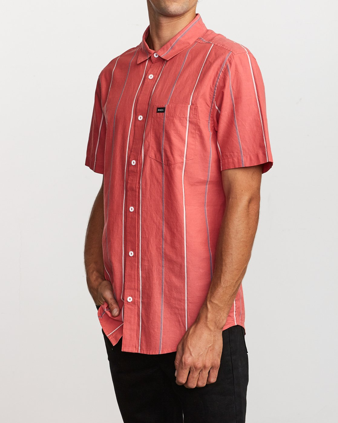 2 Hacienda Stripe Button-Up Shirt Pink M502VRHS RVCA