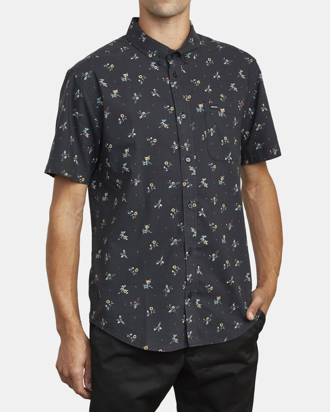 5 THAT'LL DO PRINT BUTTON-UP SHIRT Black M502VRTP RVCA
