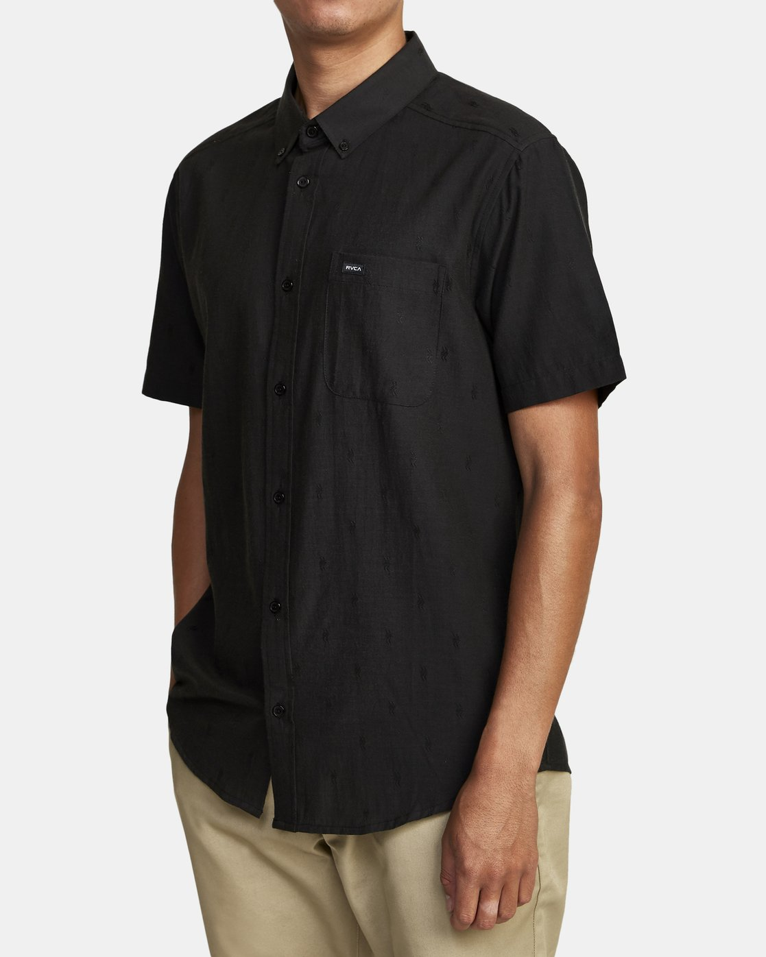 2 THAT'LL DO DOBBY BUTTON-UP SHIRT Black M503VRDD RVCA