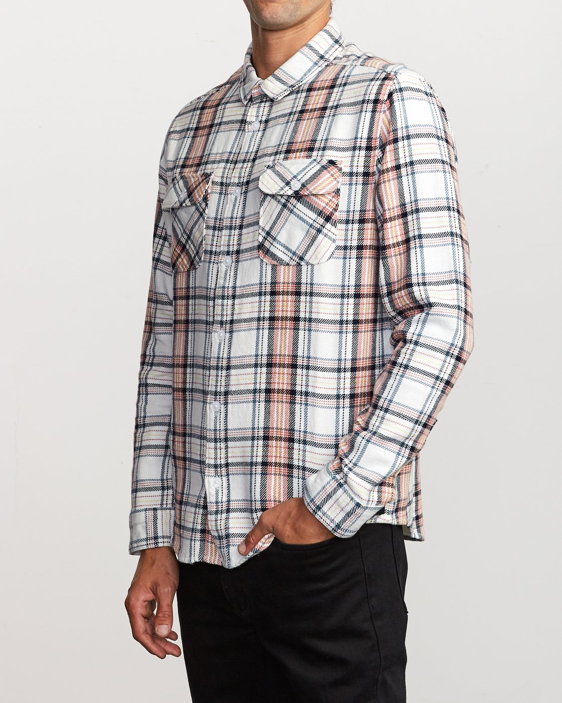 2 Avett Flannel Long Sleeve Shirt White M504VRAV RVCA