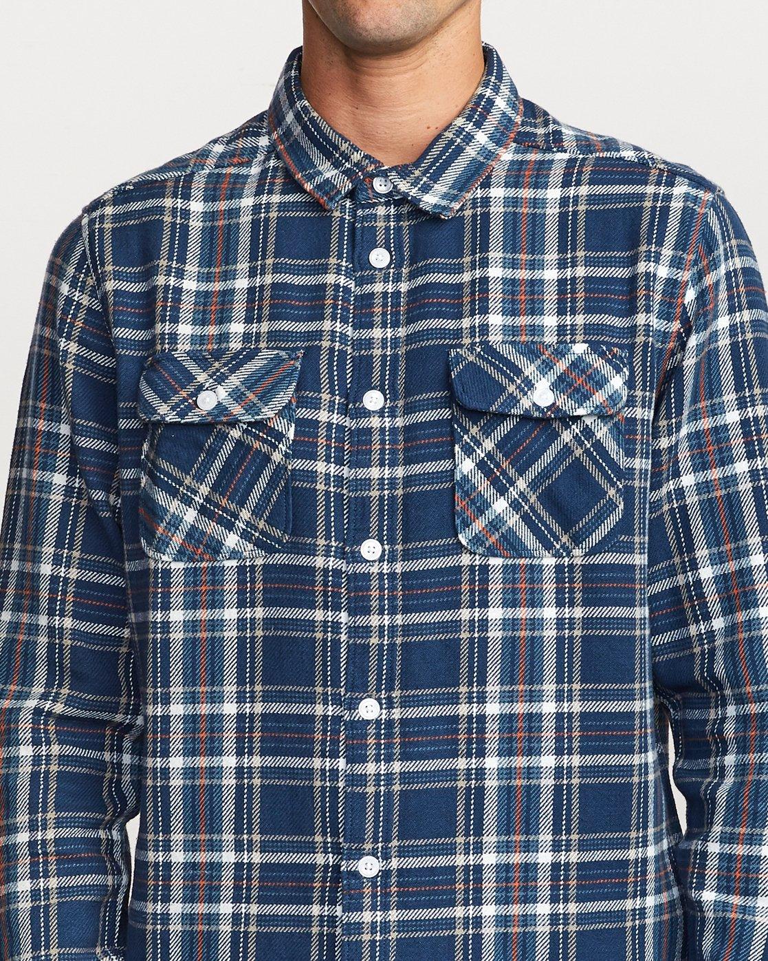 4 Avett Flannel Long Sleeve Shirt Blue M504VRAV RVCA