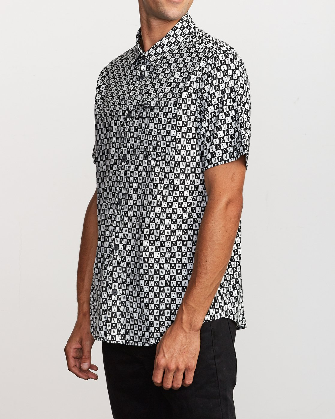 2 Greyscale Button-Up Shirt Black M505VRGS RVCA