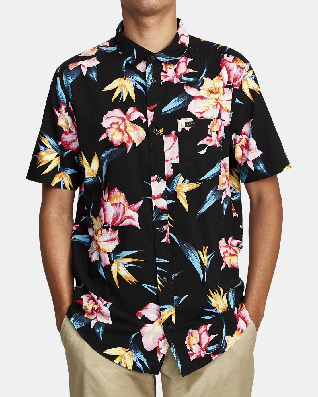 5 AKORA FLORAL SHORT SLEEVE SHIRT Black M5062RAK RVCA