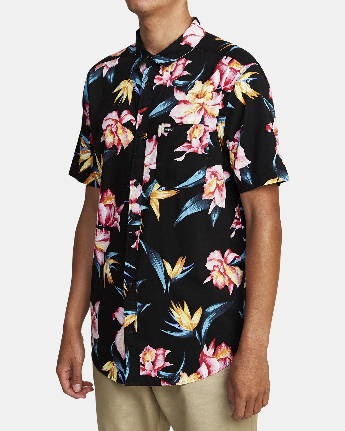 7 AKORA FLORAL SHORT SLEEVE SHIRT Black M5062RAK RVCA