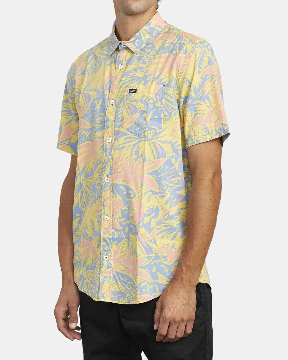 4 SANDERSON FLORAL SHORT SLEEVE SHIRT Blue M5063RSF RVCA