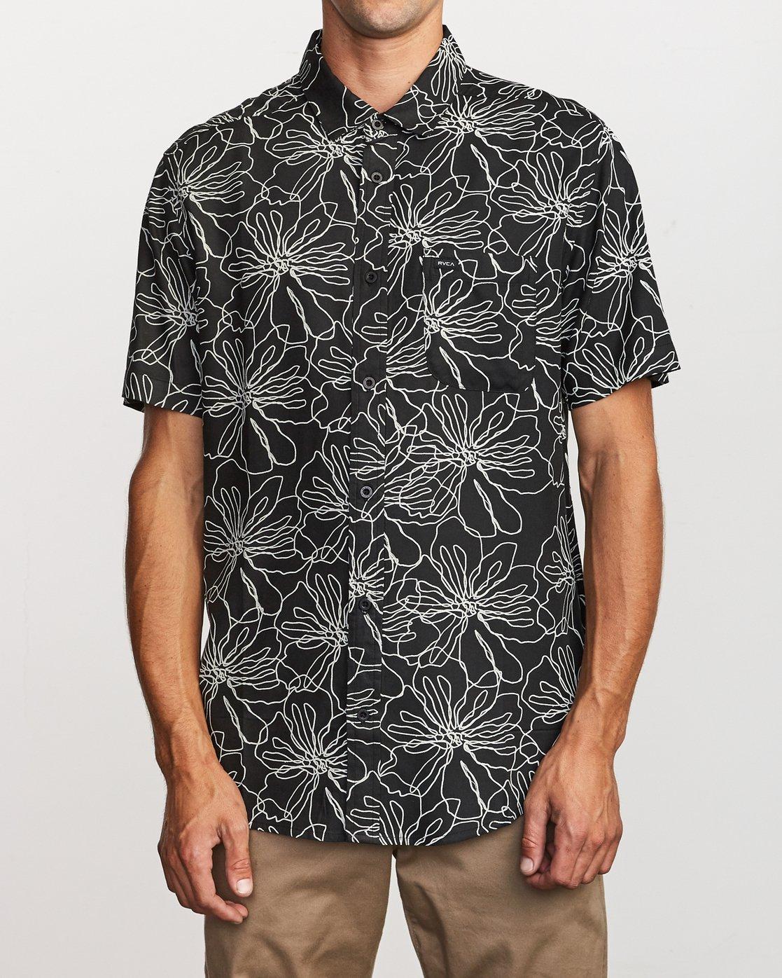 1 Blind Floral Button-Up Shirt Black M506VRBF RVCA
