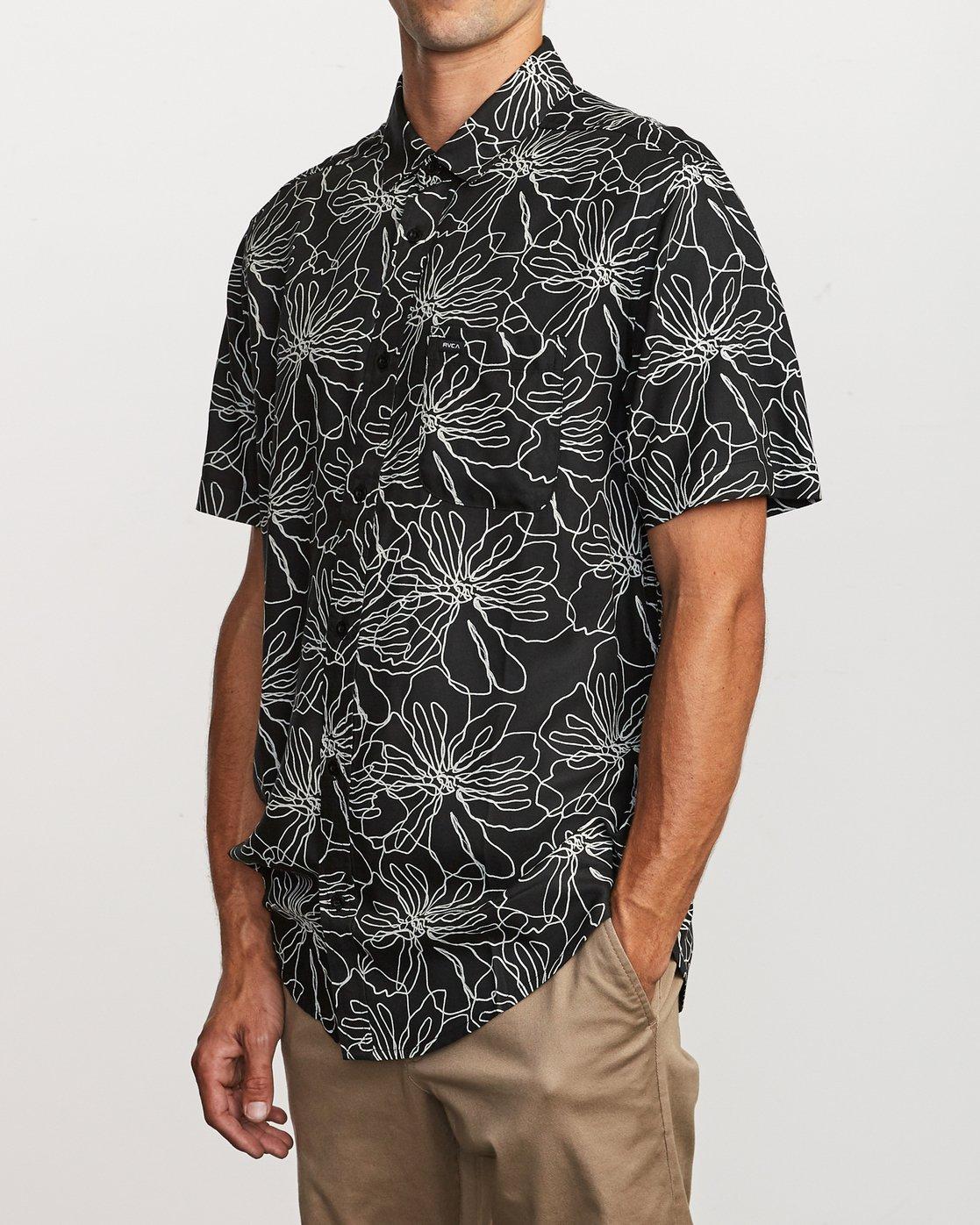 2 Blind Floral Button-Up Shirt Black M506VRBF RVCA