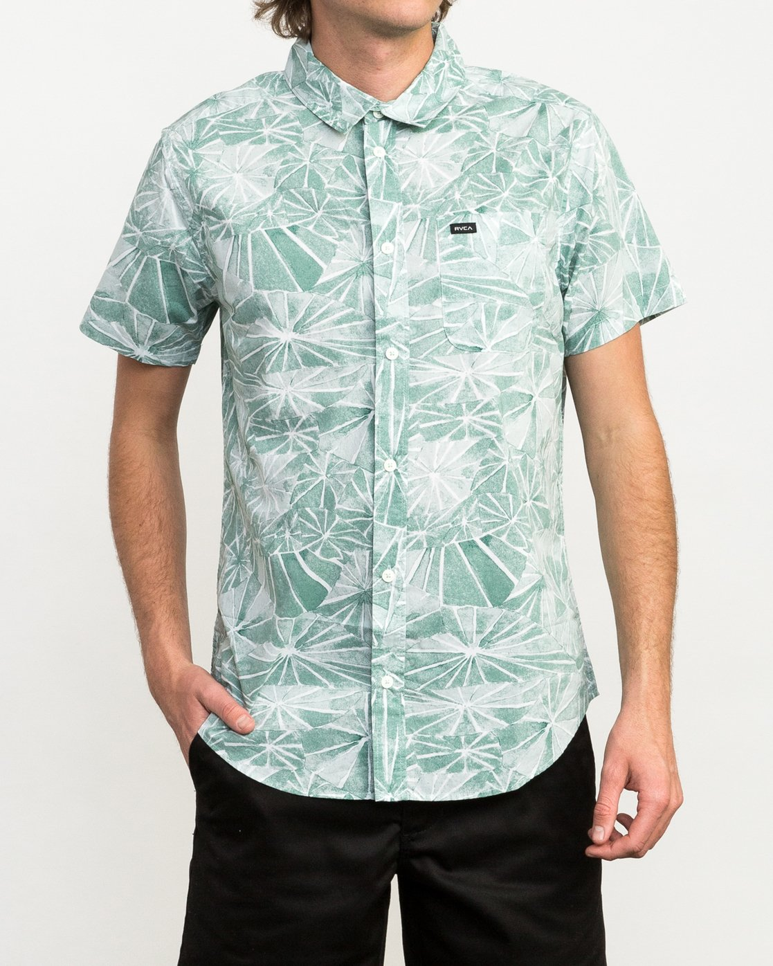 1 Blade Printed Button-Up Shirt Green M508QRBL RVCA