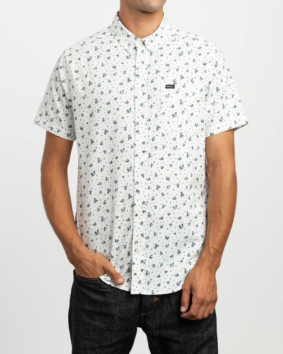 1 That'll Do Print Button-Up Shirt White M508TRTP RVCA