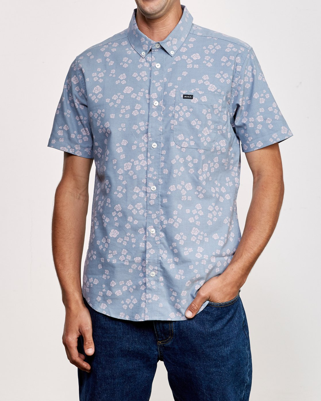 1 That'll Do Print Short Sleeve Shirt Blue M508TRTP RVCA