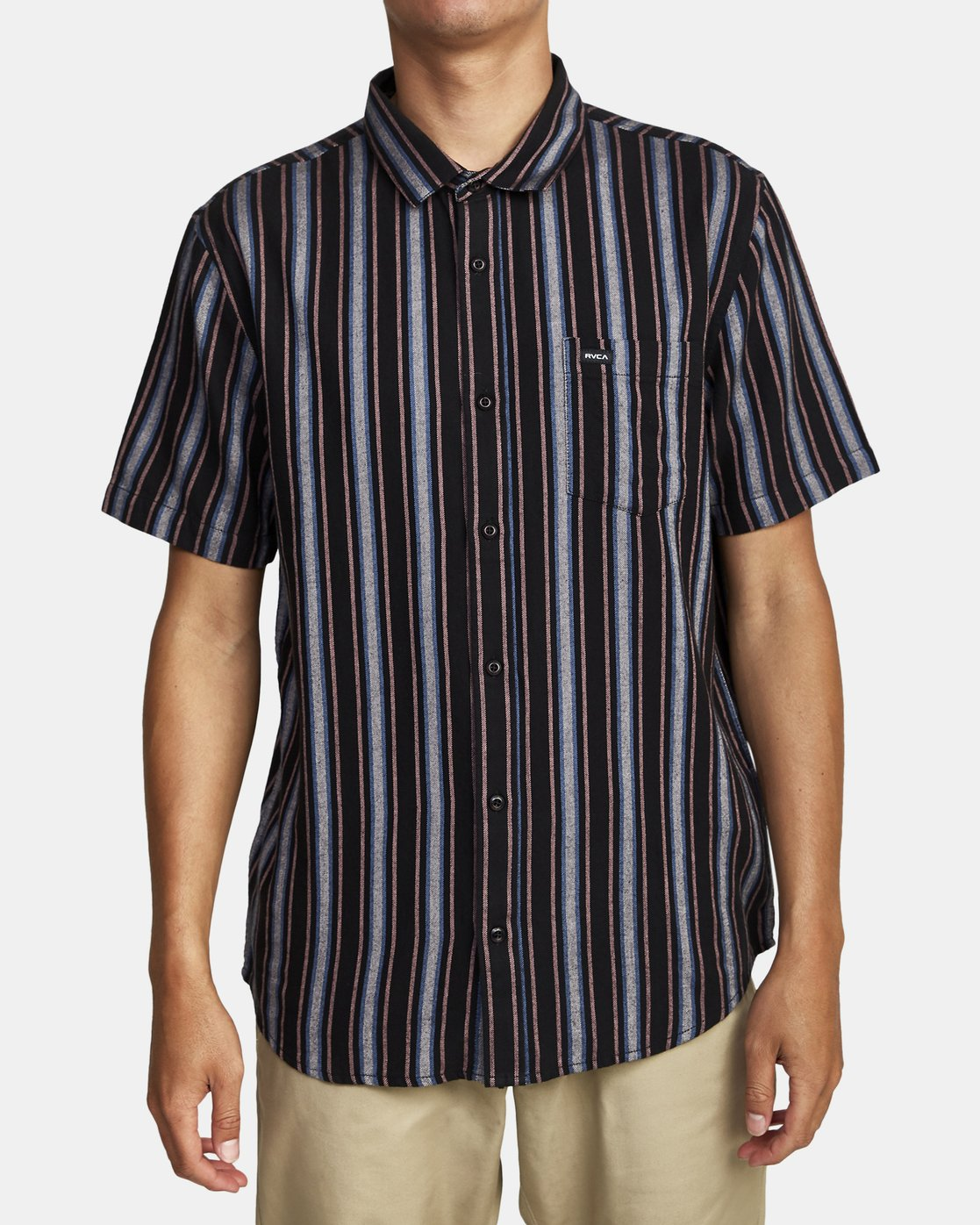 5 TOPPER STRIPE SHORT SLEEVE SHIRT Black M5092RTP RVCA
