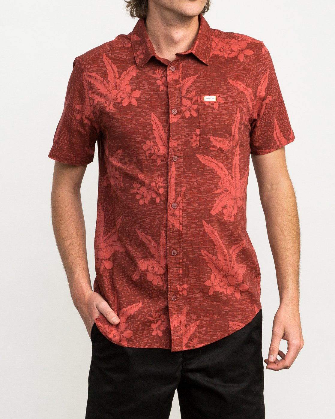 1 Andrew Reynolds Hawaiian Button-Up Shirt Red M509QRAR RVCA