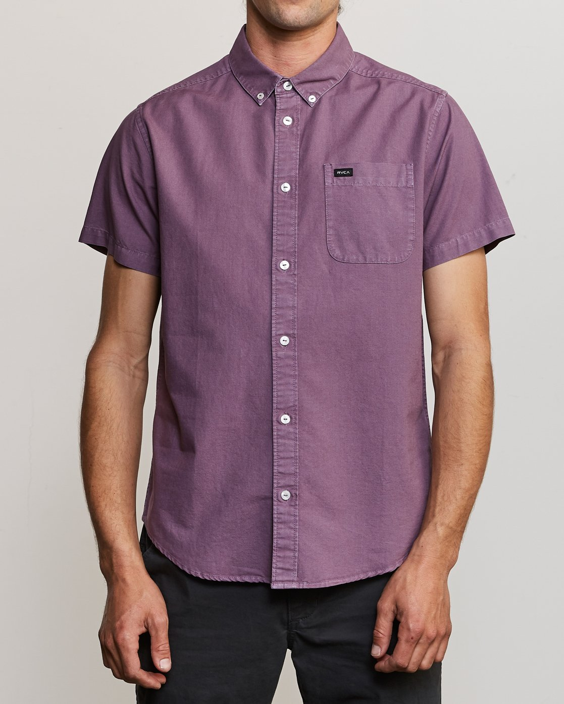 1 That'll Butter Button-Up Shirt Purple M509TRTB RVCA