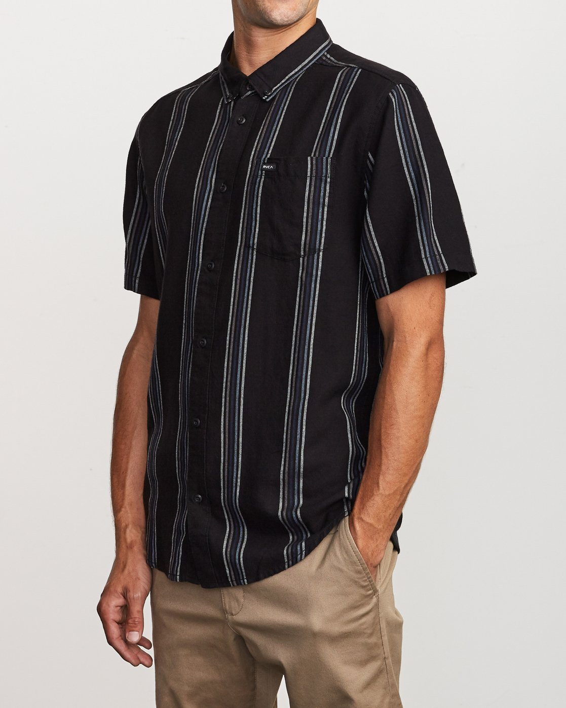 2 Split Stripe Button-Up Shirt Black M509VRSS RVCA
