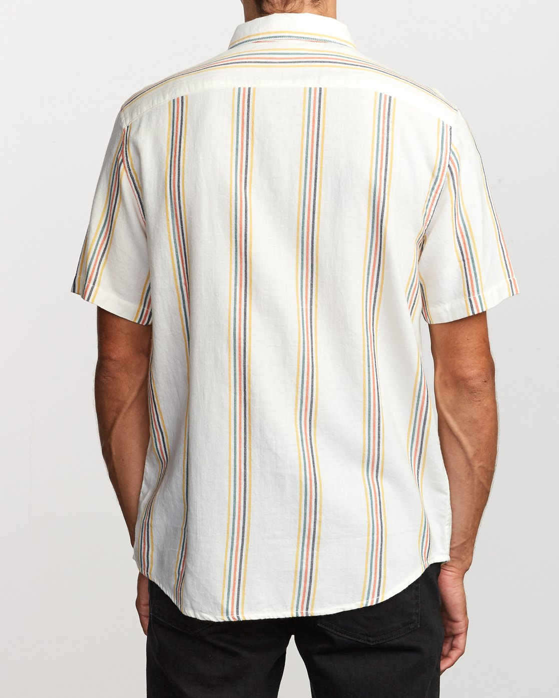 4 Split Stripe Button-Up Shirt White M509VRSS RVCA