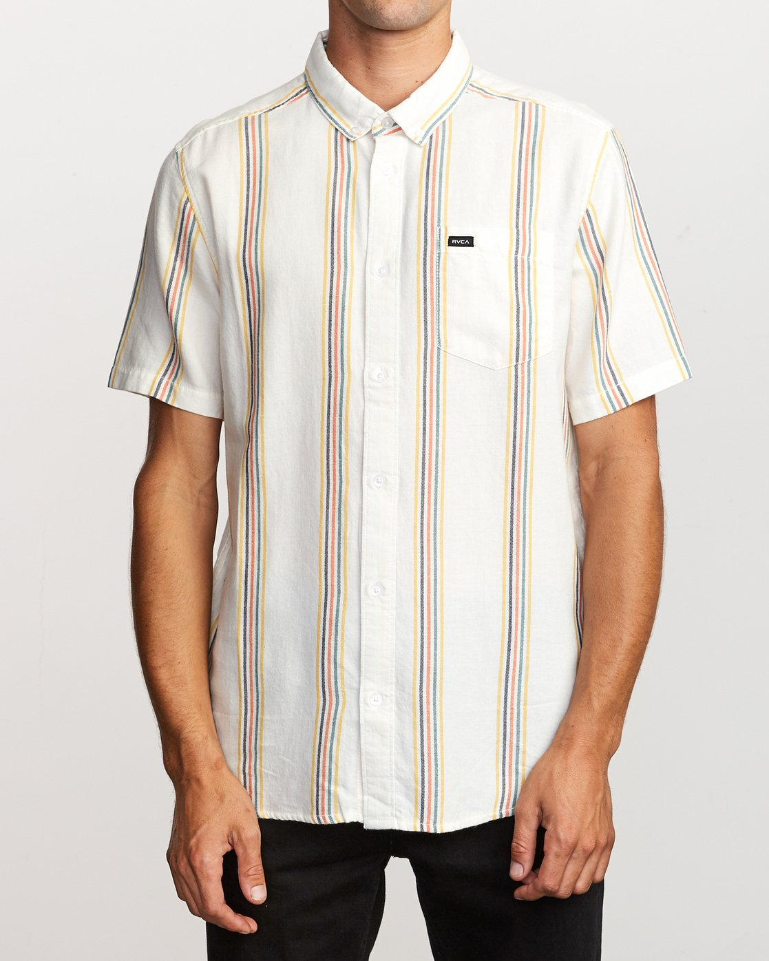 1 Split Stripe Button-Up Shirt White M509VRSS RVCA