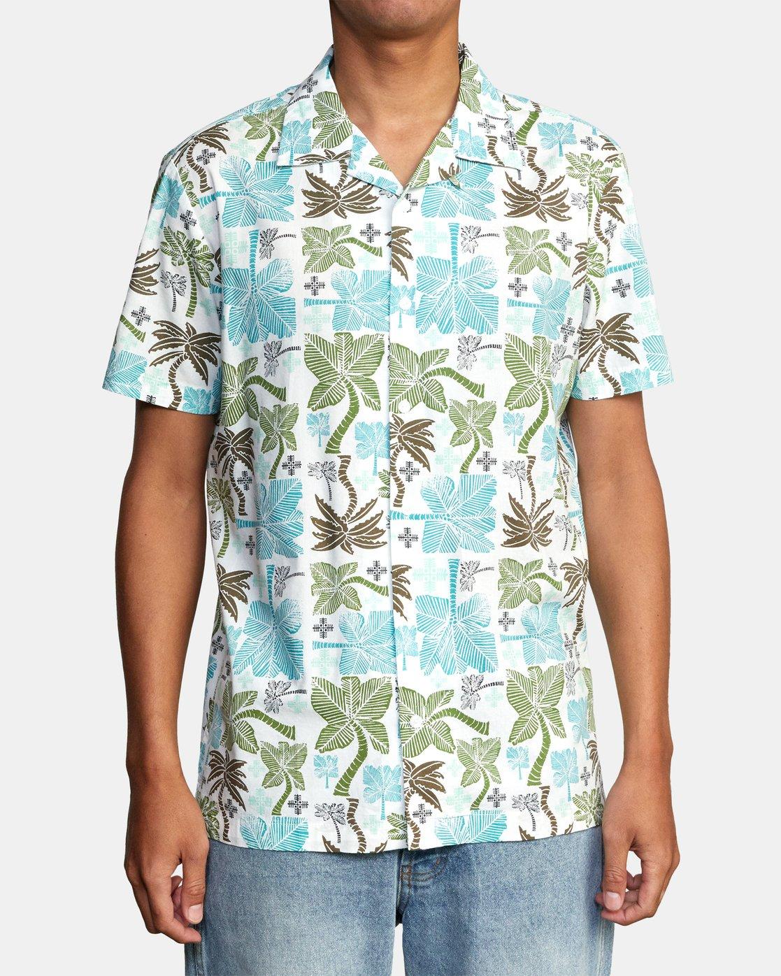 0 Oblow Palms Short Sleeve Shirt White M5104ROP RVCA