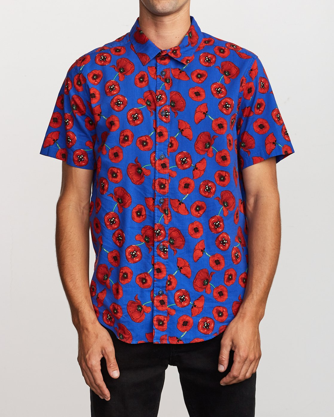 1 Peace Poppy Button-Up Shirt Red M510VRPP RVCA