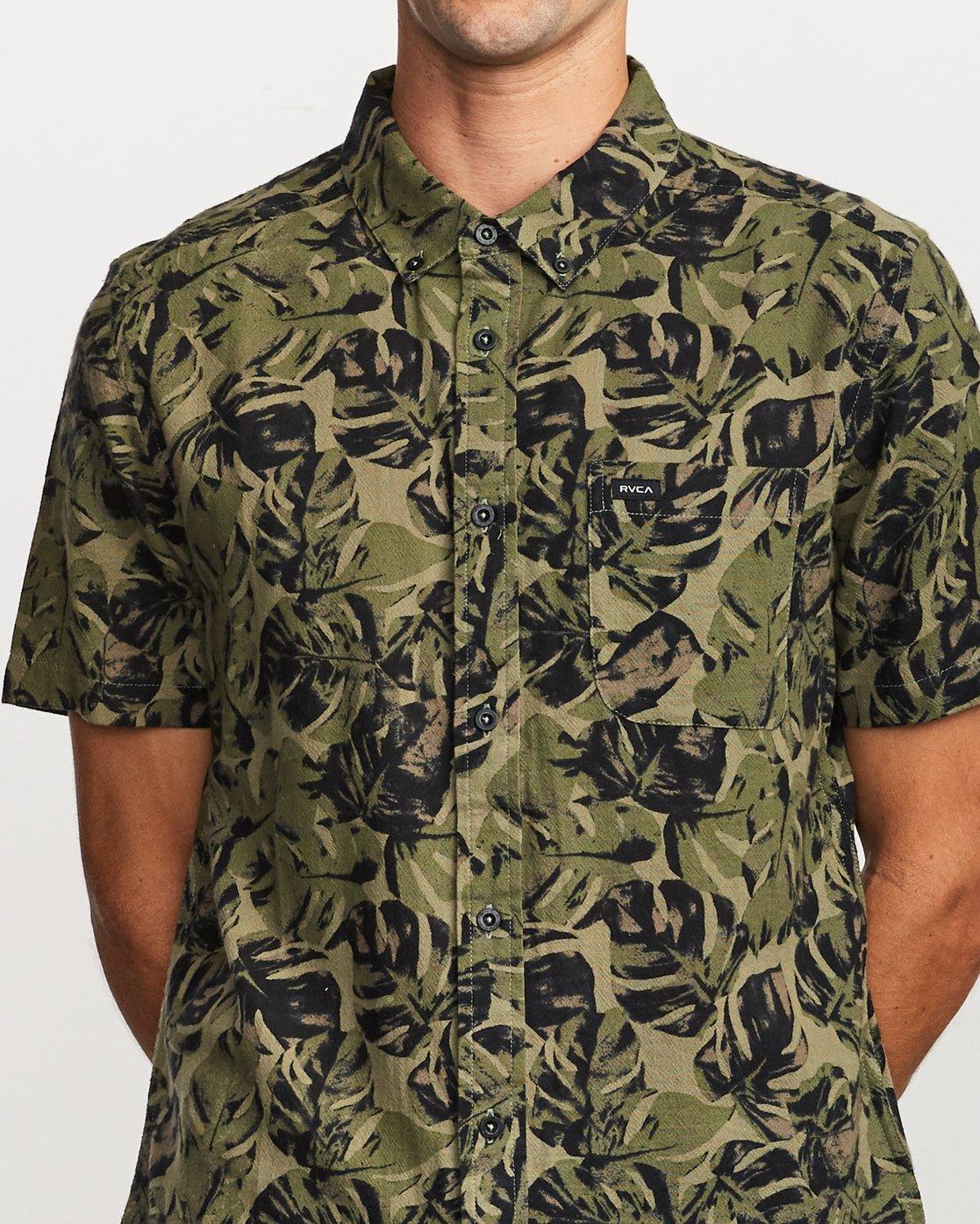 3 Leaf Camo Button-Up Shirt Black M512VRLC RVCA