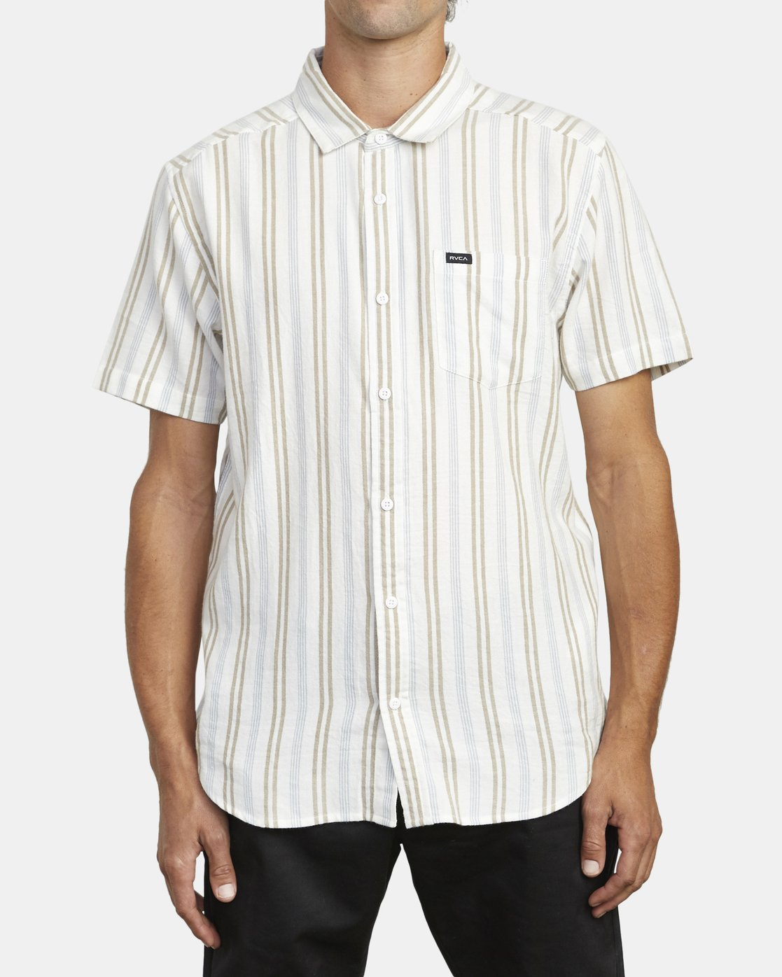 0 DISPLACED STRIPE SHORT SLEEVE SHIRT White M5133RDS RVCA