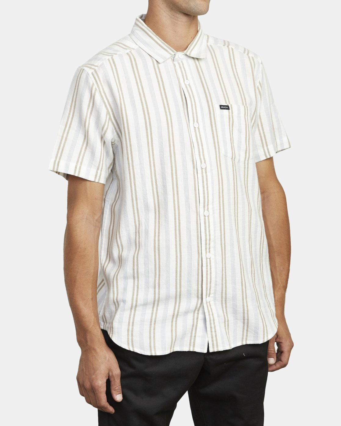 3 DISPLACED STRIPE SHORT SLEEVE SHIRT White M5133RDS RVCA
