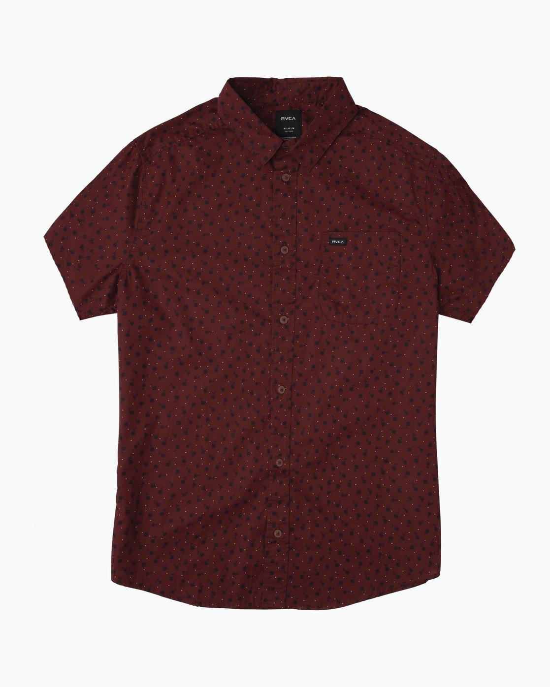 RVCA Men/'s Vu Print Short Sleeve Woven Shirt