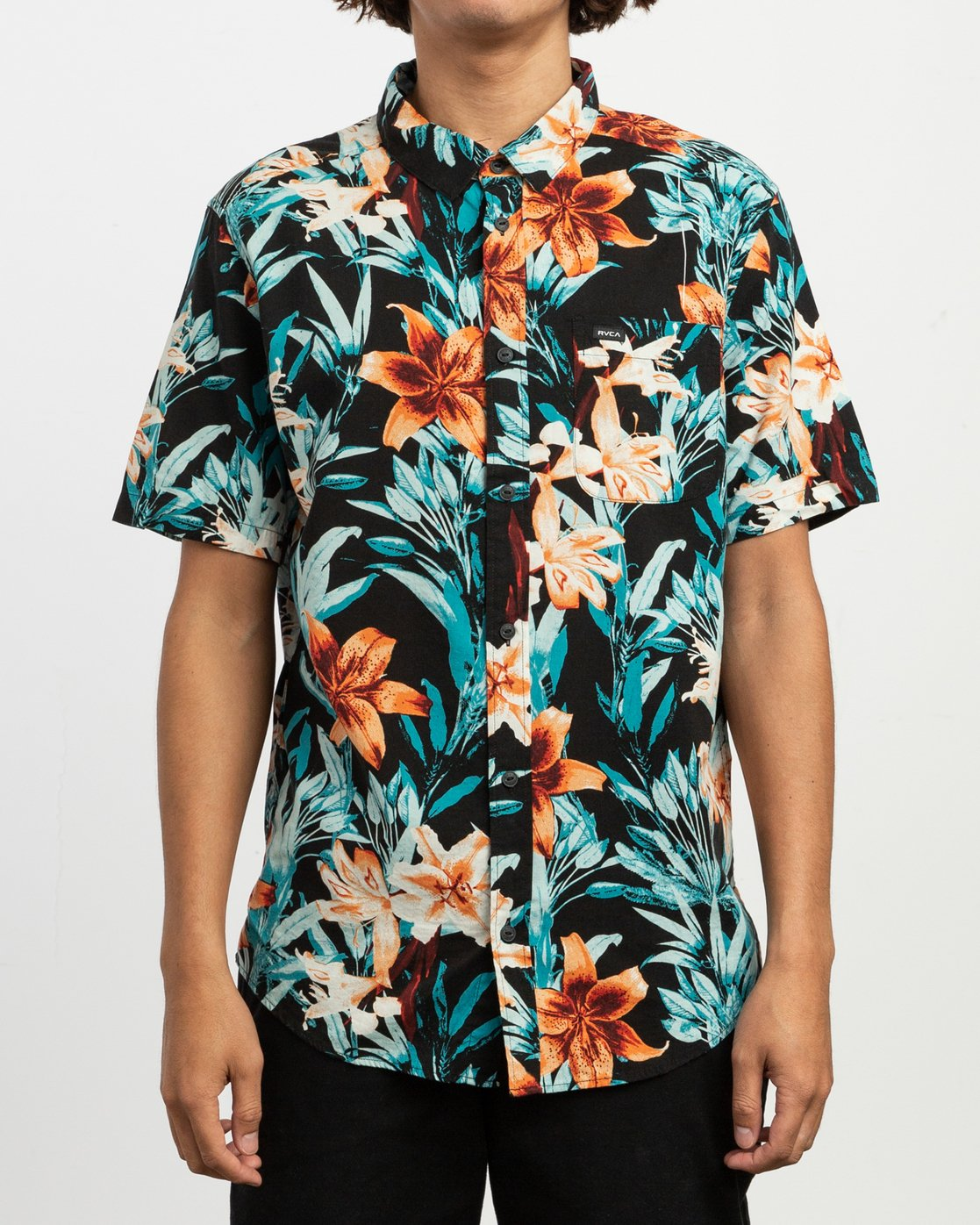 2 Montague Floral Button-Up Shirt Black M513TRMF RVCA