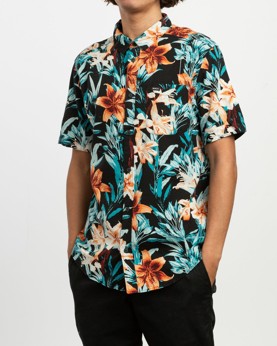 3 Montague Floral Button-Up Shirt Black M513TRMF RVCA