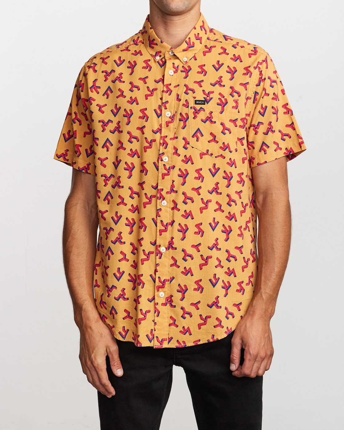 1 Slappy Printed Button-Up Shirt Orange M513VRSP RVCA