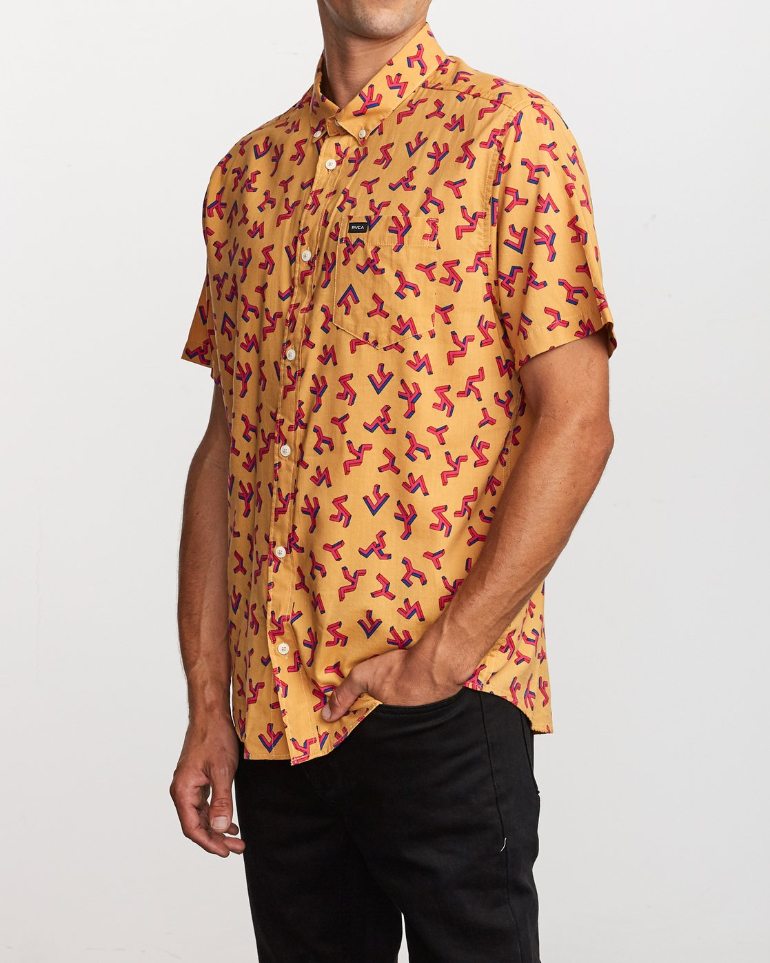 2 Slappy Printed Button-Up Shirt Orange M513VRSP RVCA