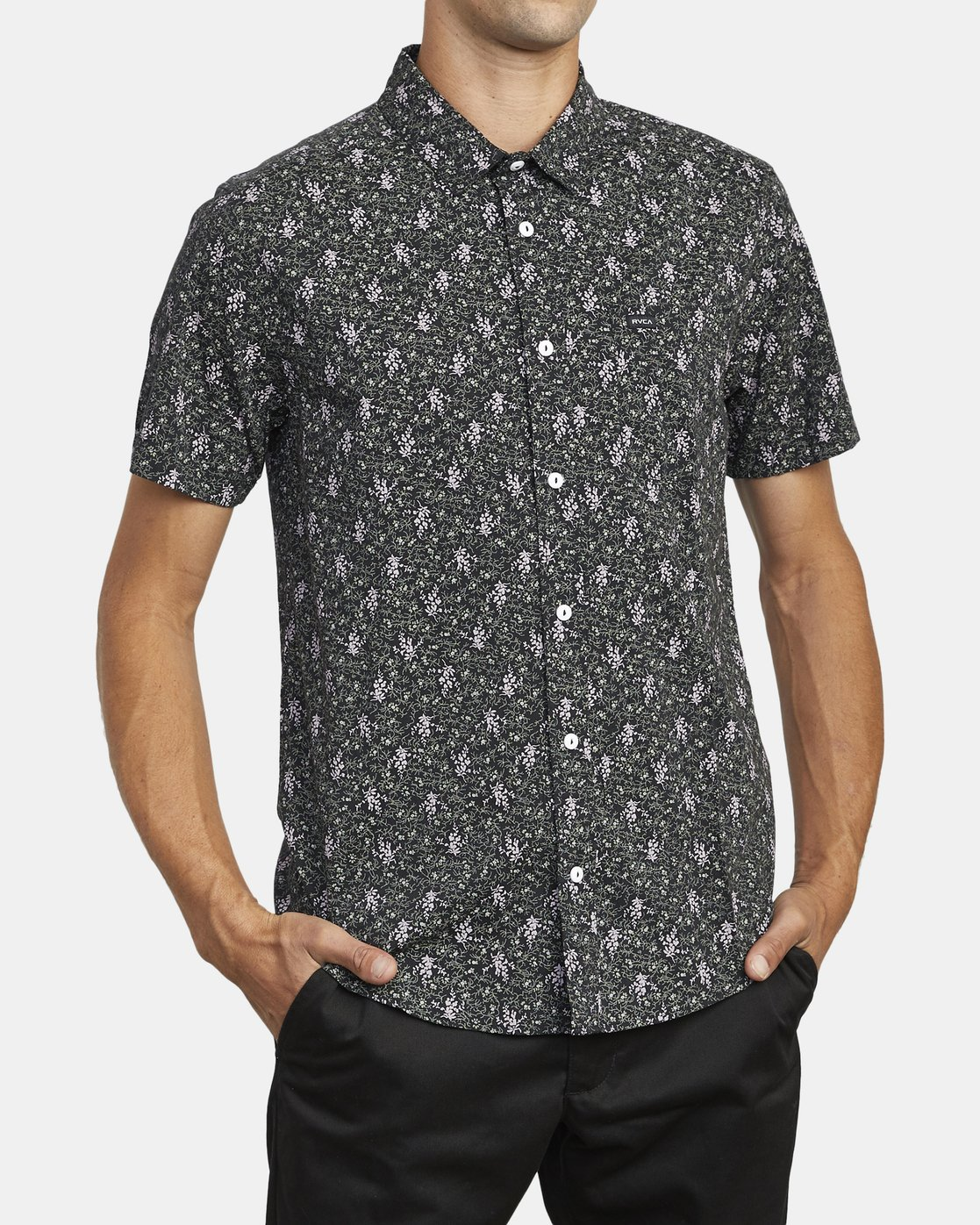 3 MONKBERRY FLORAL SHORT SLEEVE SHIRT Black M5163RMB RVCA