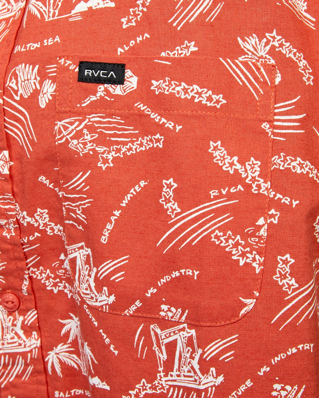 6 TROPICAL DISASTER SHORT SLEEVE SHIRT Red M5173RTD RVCA