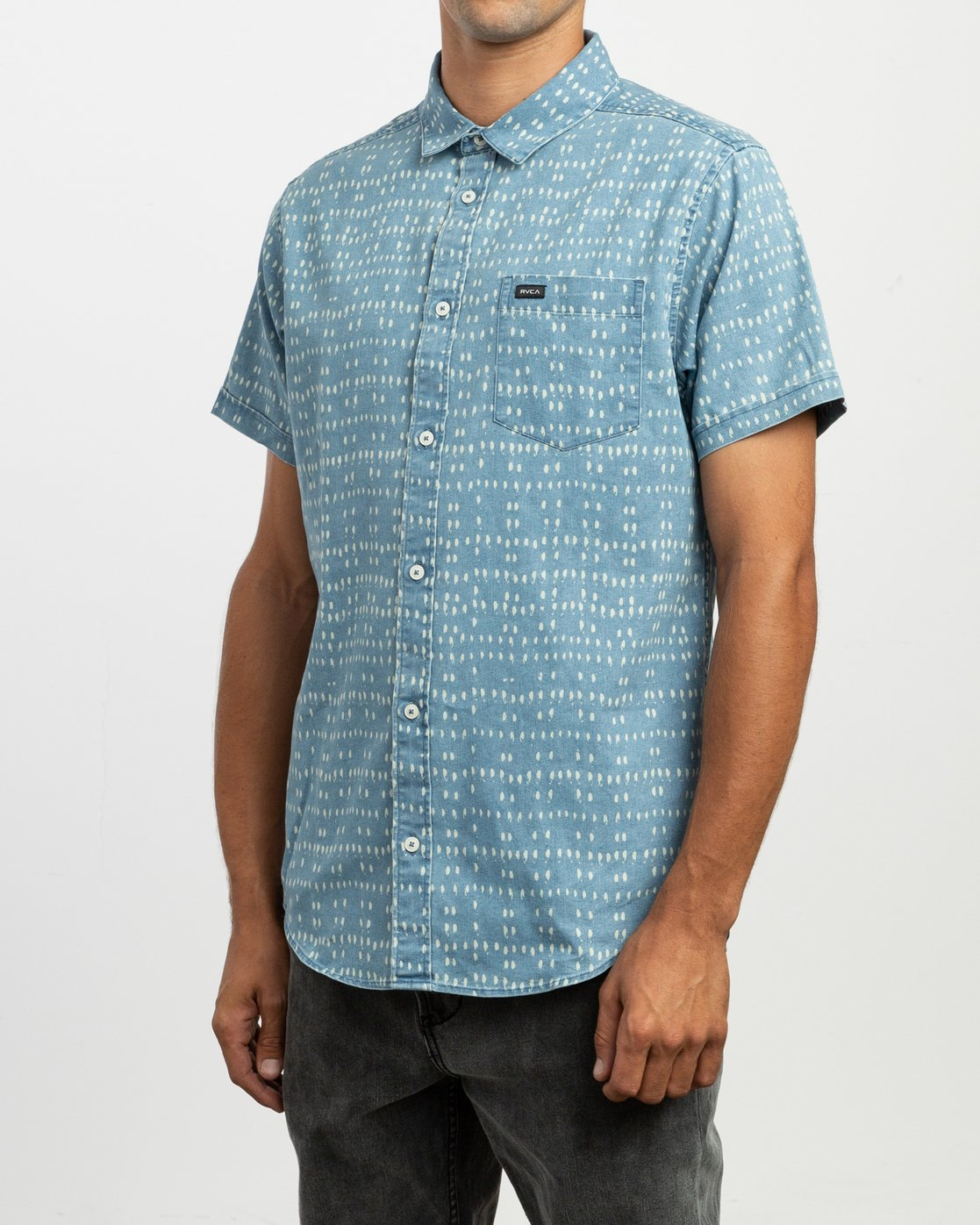 b86870d822b 2 Nakama Dot Button-Up Shirt Blue M517TRND RVCA