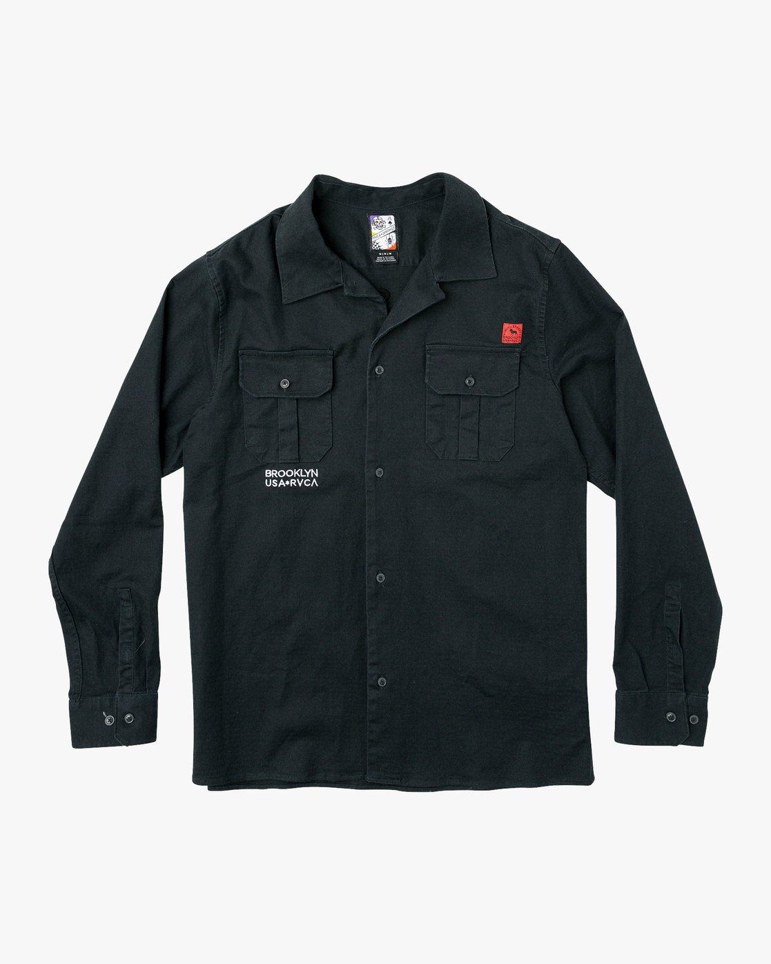4 Smith Street Long Sleeve Shirt Black M550VRSS RVCA