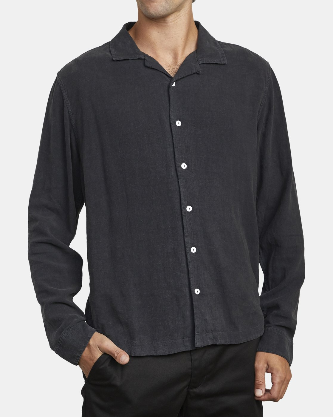 4 BEAT LONG SLEEVE SHIRT Black M5513RBL RVCA