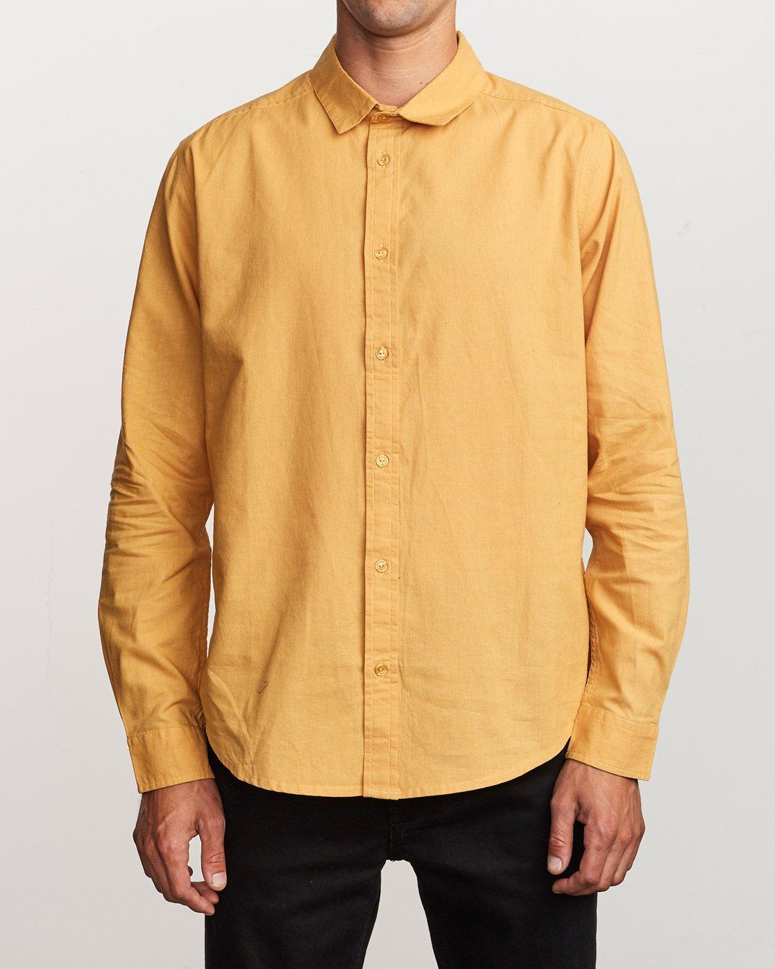 0 Crushed Washed Long Sleeve Shirt  M551VRCR RVCA