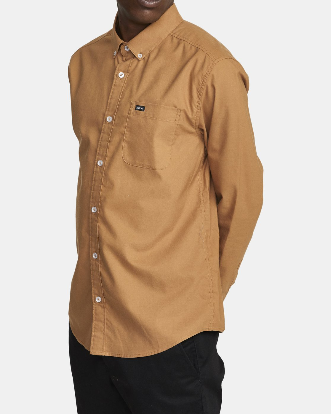 2 THATLL DO STRETCH LONG SLEEVE SHIRT Brown M551VRTD RVCA