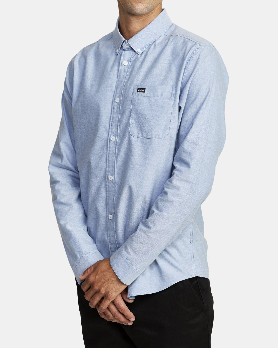 6 THATLL DO STRETCH LONG SLEEVE SHIRT Blue M551VRTD RVCA